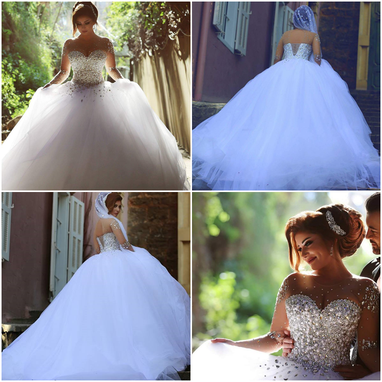 Charming BallGown Floor-Length Full-Sleeves Backless Tulle Beading Beach Wedding Dress