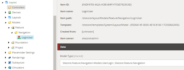 sitecore login model