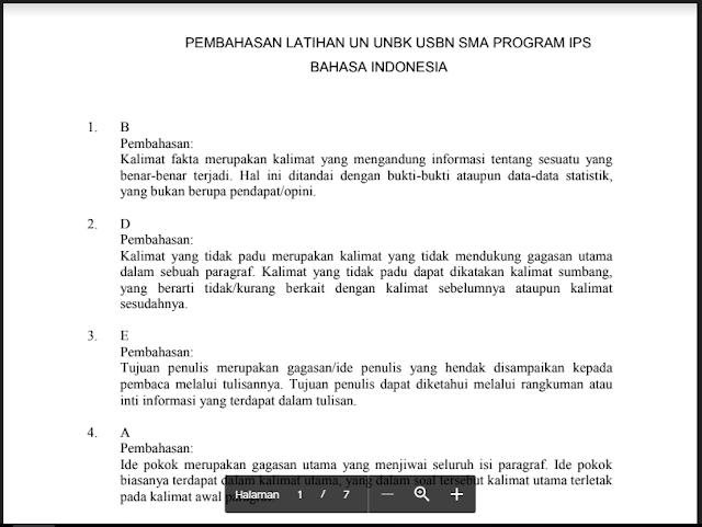 Kunci atau pembahasan UN, UNBK, USBN Bahasa Indonesia Prodi IPS SMA Kelas XII (12) - http://www.librarypendidikan.com/