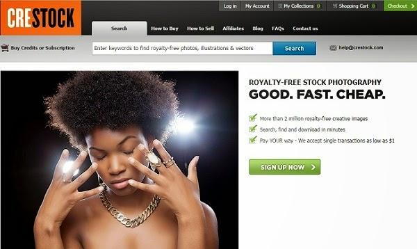 Como vender fotos pela internet - site Crestock