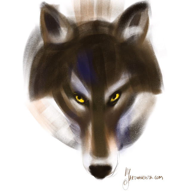 Wolf painting by Artmagenta