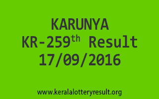 KARUNYA KR 259 Lottery Results 17-9-2016