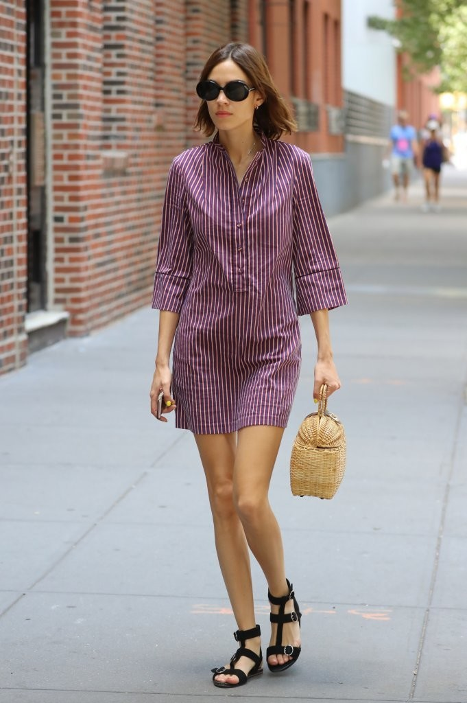 Alexa Chung Wears a Shirt Dress & a Straw Tote in NYC