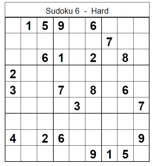 graphic about Printable Sudoku Hard named Printable Sudoku Challenging Puzzle no 6 - Sudoku Demanding Puzzles