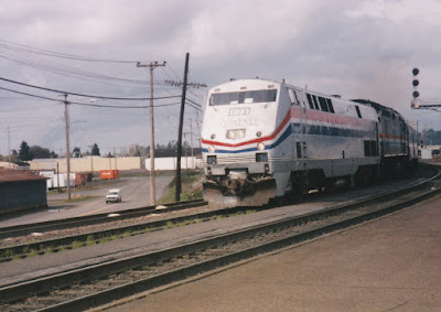 Amtrak B40-8P #802 in Vancouver, Washington, in March, 1997