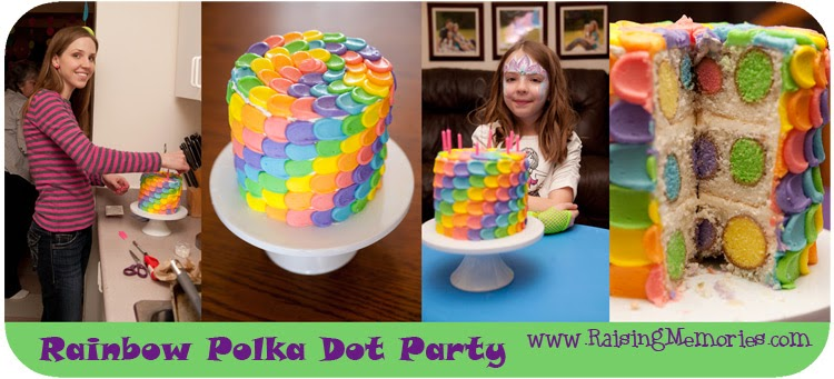 Perfect Birthday Cake for a Rainbow Polka Dot Party by www.RaisingMemories.com