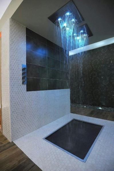Modern Villa's Waterfall Showers Rooms
