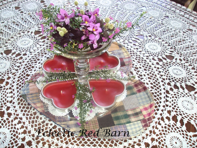Cake Stand as Valentine's Day Vase with Heart-shaped Mat