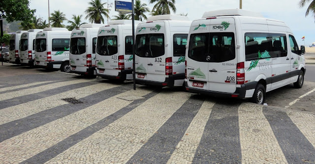 Vans headed to Corcovado and Christ the Redeemer in Rio de Janeiro Brazil