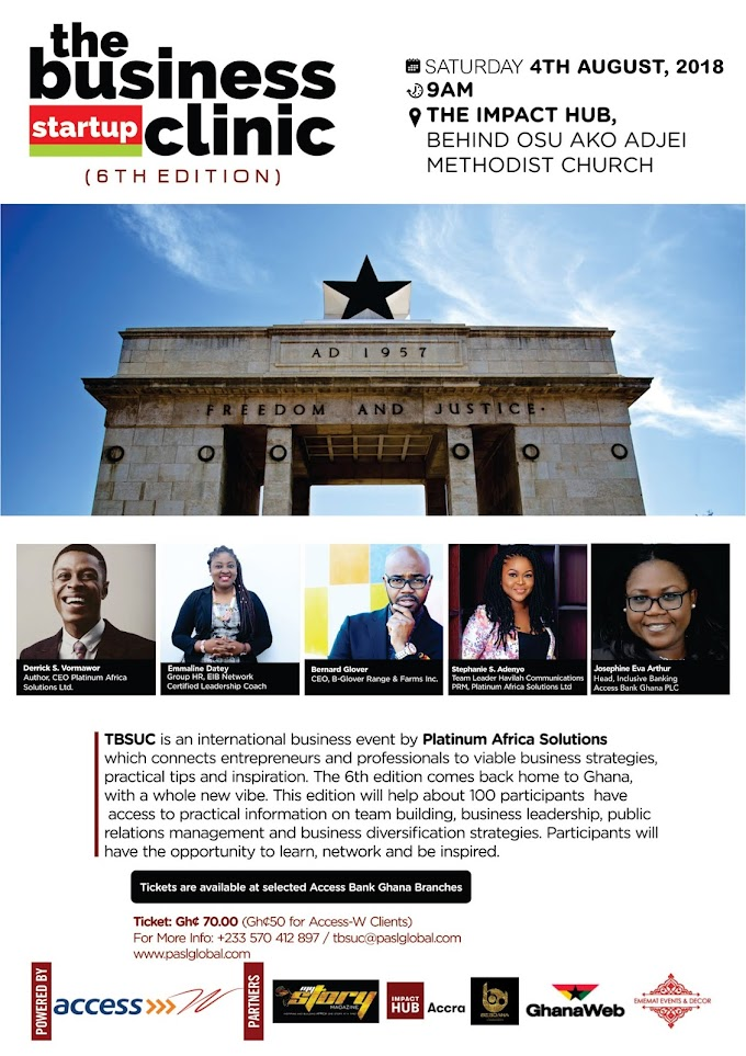 The Business Startup Clinic Comes To Ghana, Bigger And Better! A Must Attend For Every Entrepreneur!