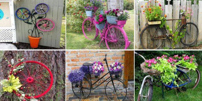 Decorar El Jardin Con Bicicletas Viejas Plantas Y Flores - Como-decorar-un-jardin-con-plantas-y-flores