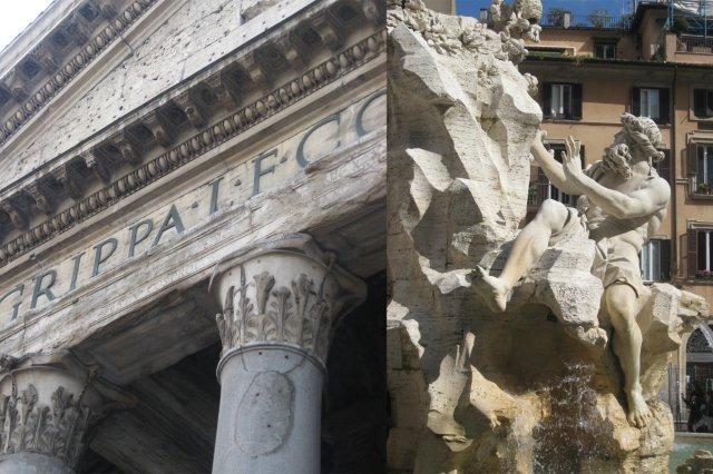 El Panteon y la Fuente de los Cuatro Rios en la Piazza Navona de Roma