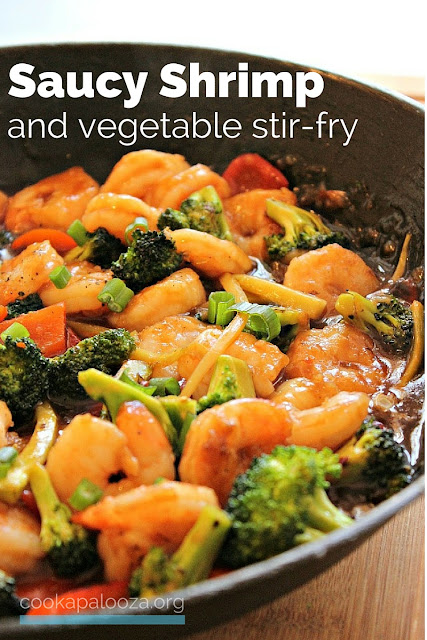 Pan-seared shrimp and vegetables tossed with a flavorful oyster and sesame stir-fry sauce