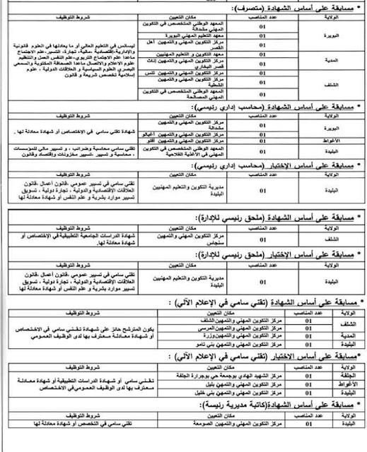 اعلان عن توظيف في وزارة التكوين والتعليم المهنيين (كل الولايات أساتذة وإداريين) -- ديسمبر 2018
