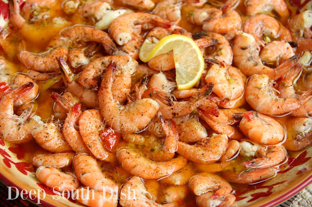 Large shrimp, baked in a buttery seasoned beer, oil and vinegar sauce, great for a party, or the beach!