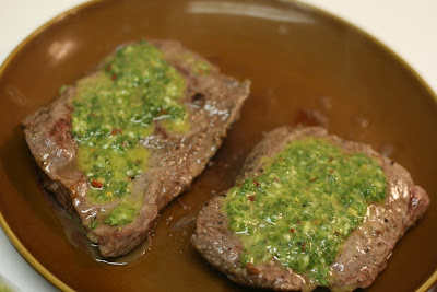 Flat Iron Steak w/Chimichurri Sauce