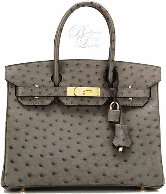 Brilliant Luxury ♦ Hermès Gray Graphite Ostrich Birkin Bag