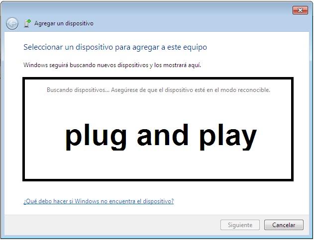 Plug and Play opción para agregar impresoras a Windows.