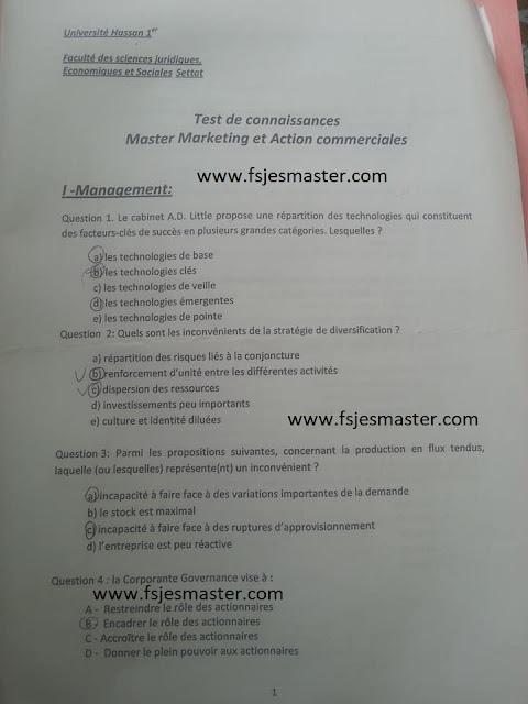 Exemple Concours Master Marketing et Action Commerciales 2017-2018 - Fsjes Settat