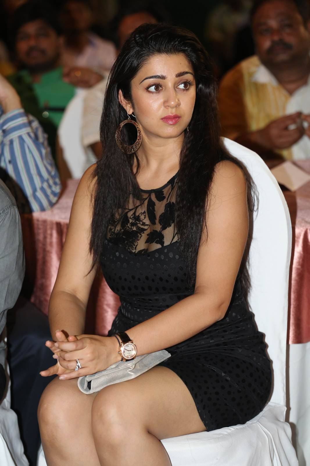 Charmi Stills in Black Skirt, Charmee Kaur Pics Clicked in Black Dress at Event