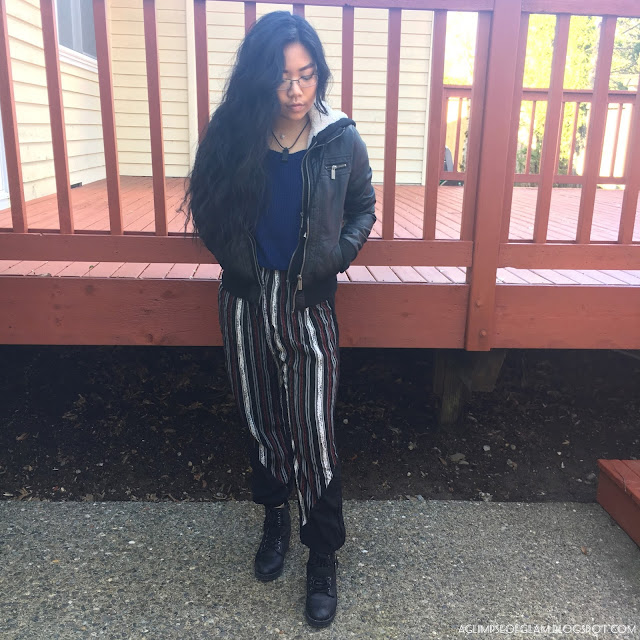 Spring Style OOTD Black Striped Pants Gamiss Review - Andrea Tiffany A Glimpse of Glam