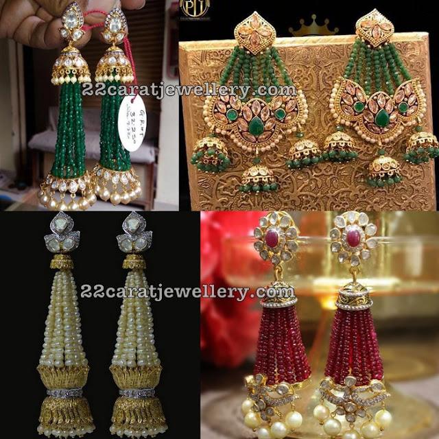 Beads Tassels Large Earrings