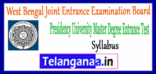 WBJEEB PUMDET West Bengal Joint Entrance Examination Board Syllabus 2018