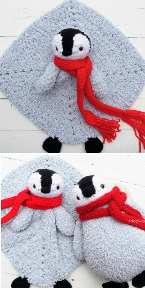 Baby Penguin Crochet Lovey Security Blanket - Free Pattern