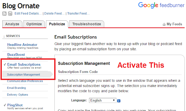 Activate Email Subscription in Feedburner
