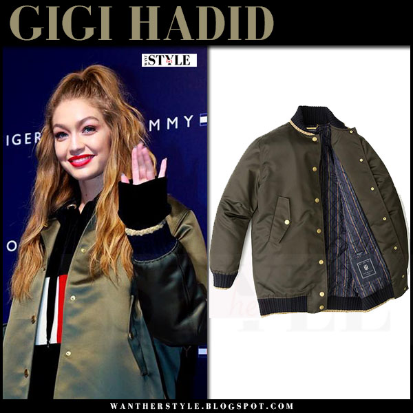 Gigi Hadid in green khaki satin bomber jacket tommy hilfiger what she wore fall fashion