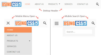 Tren Desain Blog Kekinian - Header All in One plus Menu & Kotak Pencarian