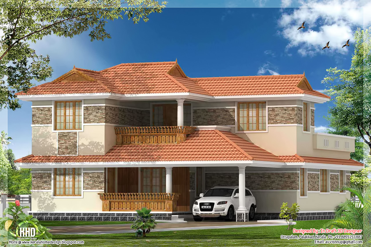 4 bedroom kerala villa elevation kerala home design and for Four bedroom kerala house plans