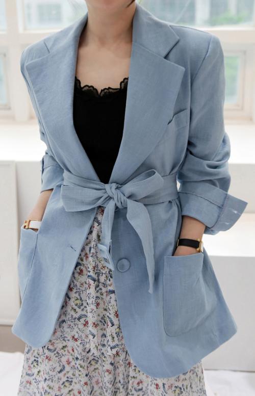 Belted Linen Blazer