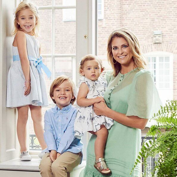 Crown Princess Victoria in byTimo. Princess Sofia, Princess Madeleine, Princess Estelle in Bonpoint dress. Princess Leonore