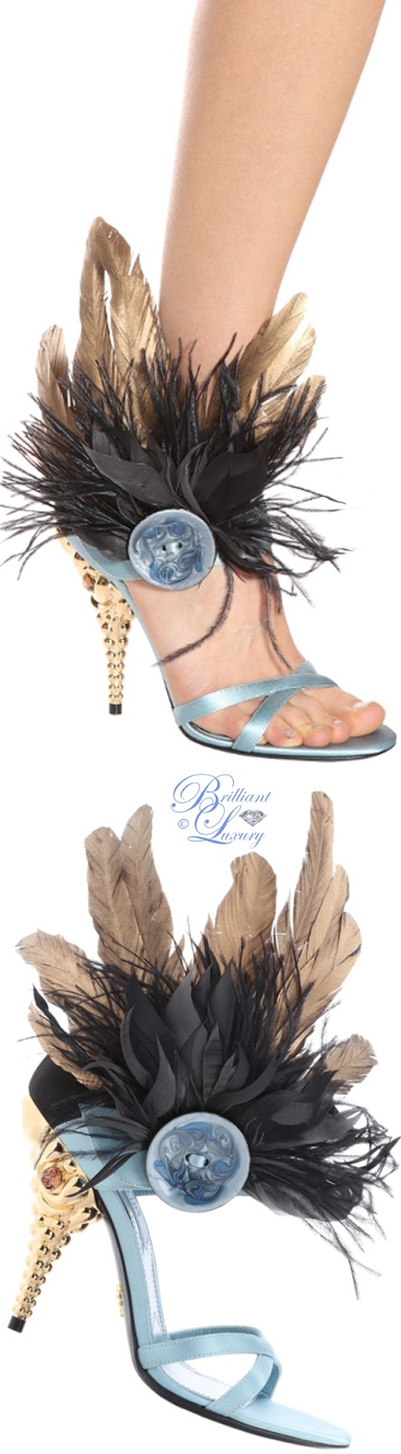 Brilliant Luxury ♦ Prada feather trimmed satin sandals