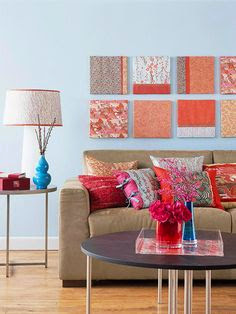 warm color cushions and pictures with turquoise