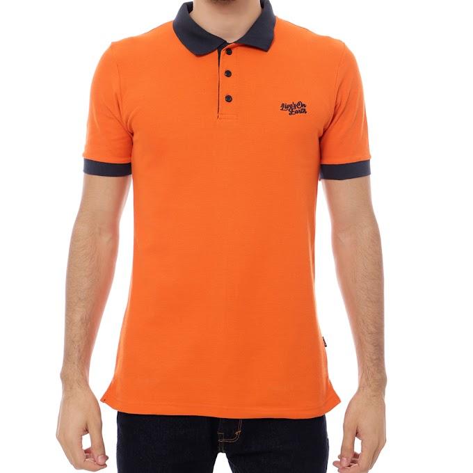 Kaos Polo Shirt Kerah Pria Premium Play Orange