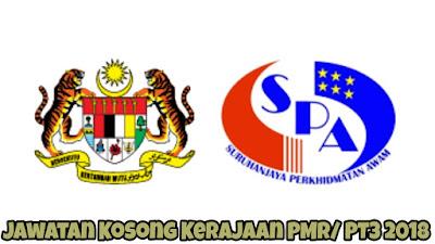 Jawatan Kosong Kerajaan PMR/ PT3 2018
