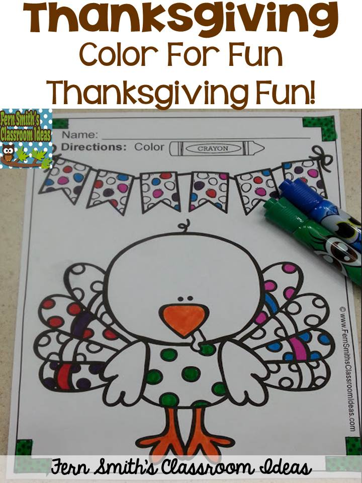 Fern Smith's Classroom Ideas Thanksgiving Color For Fun Printables