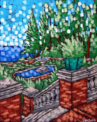 glensheen garden painting, aaron kloss glensheen, plein aire aaron kloss, plein air pointillism