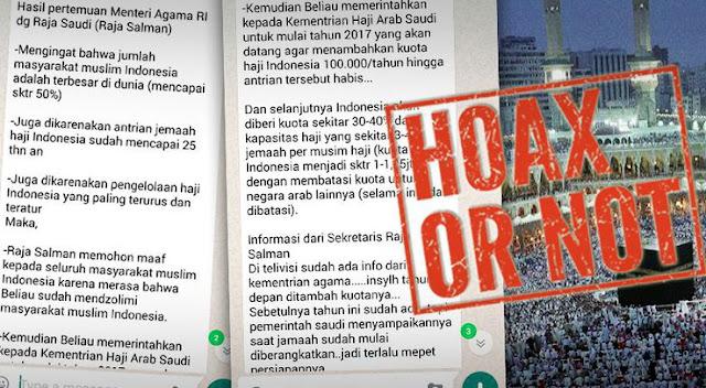 Waspada! Beredar Pesan Hoax Terkait Kuota Haji