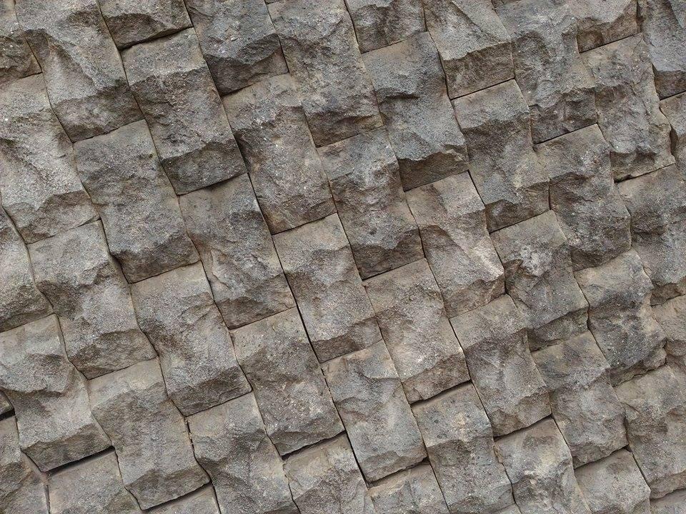 Basalt Stone Wall : Application of grey andesite black basalt stone tiles