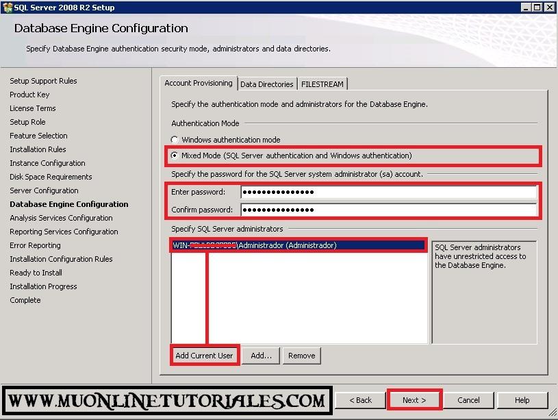 Configurando el modo mixto del SQL