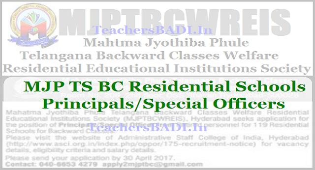 MJP TS BC Residential Schools,Principals Special Officers Recruitment,TS BC Gurukulams