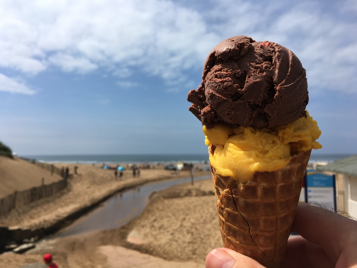 Chocolate chip and mango ice cream - Woolacombe beach, Devon