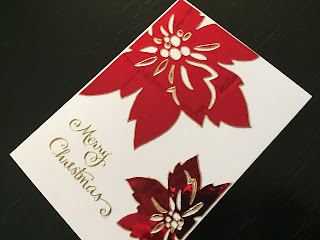 Hand Made Christmas Card with Metallic Poinsettia Peel Offs