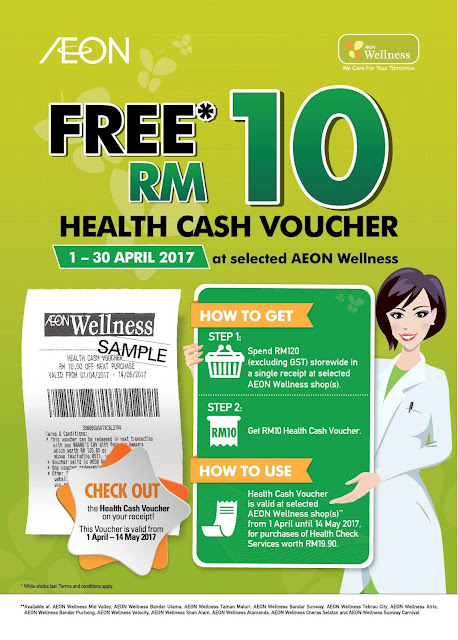 AEON Wellness Free RM10 Health Cash Voucher Promo
