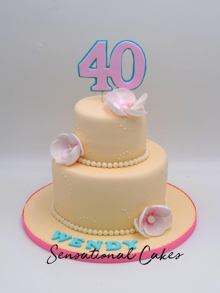 Sophisticated Design 2 Tier Cream And Pastel Pink Flower For 40th Birthday Cake Singaporecake Creamcake