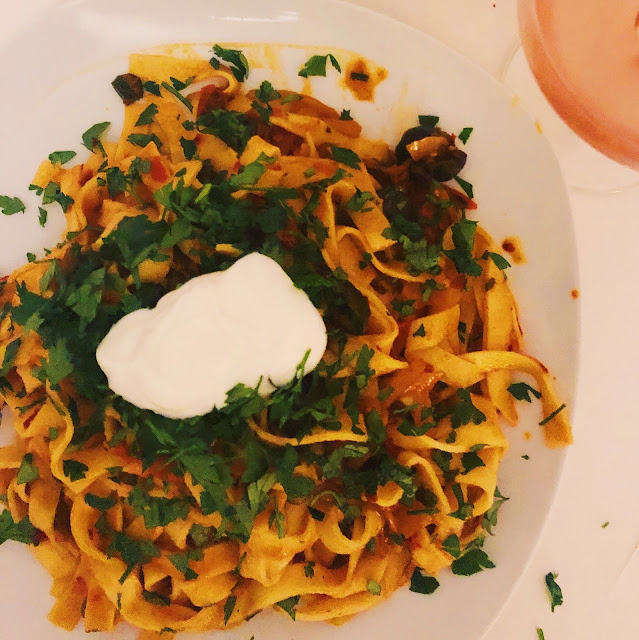 OTTOLENGHI'S ROSE HARRISSA TAGLIATELLE WITH CAPERS AND OLIVES
