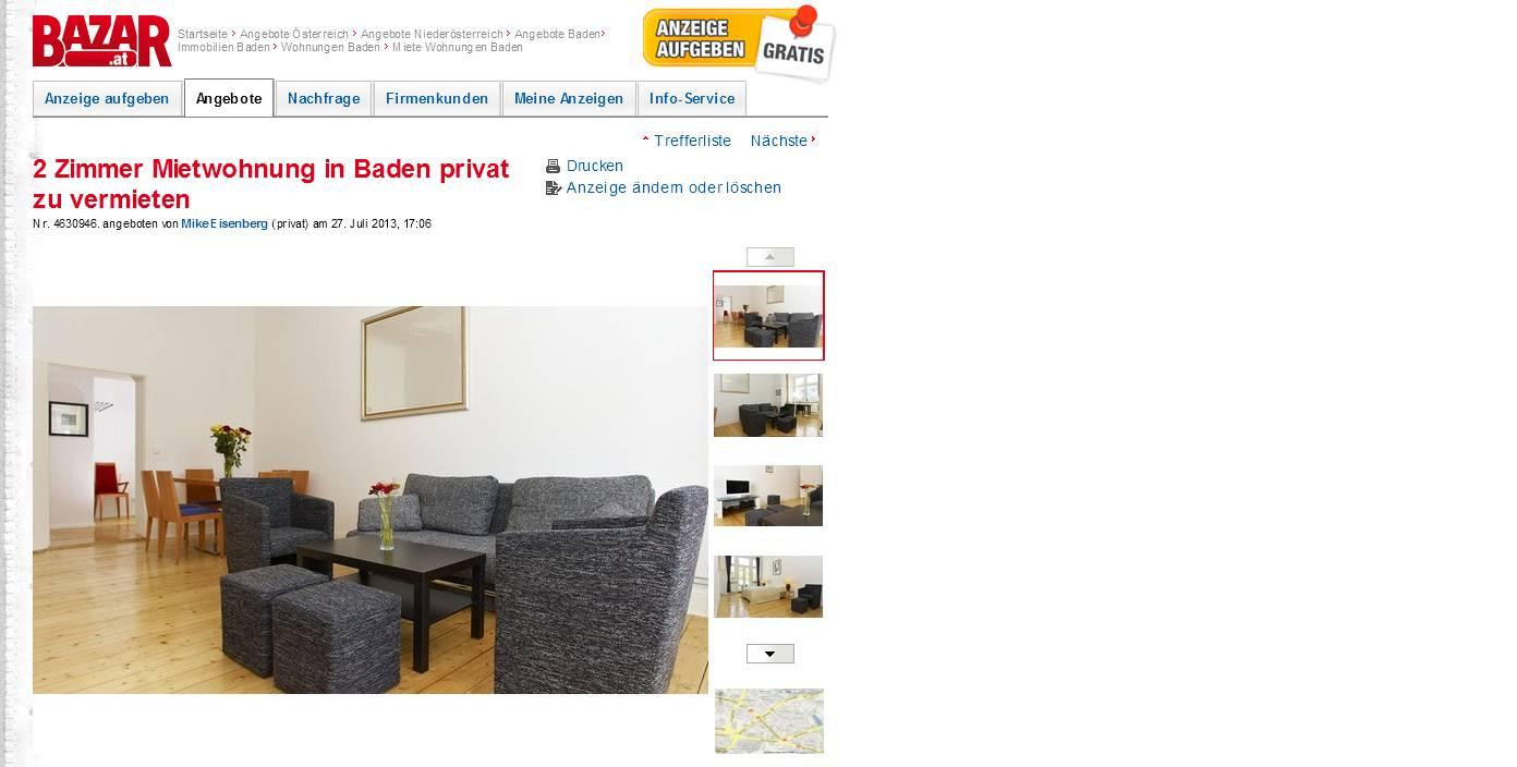 2 zimmer mietwohnung in baden. Black Bedroom Furniture Sets. Home Design Ideas